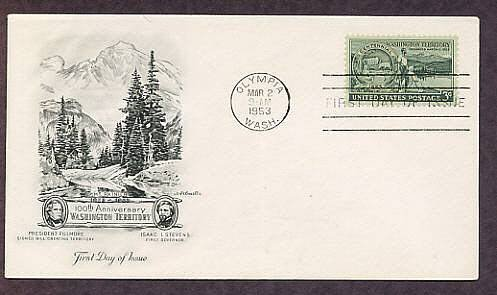 100th Anniversary of the Organization of the Washington Territory, 1953 Olympia, First Issue USA