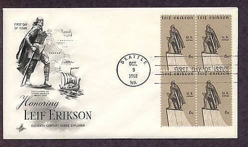 Honoring Early Explorer of North America, Norseman Leif Erikson, First Issue