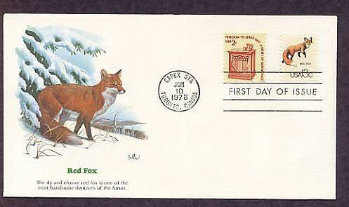 Red Fox, Wildlife that Shares the Border Between Canada and the USA First Issue