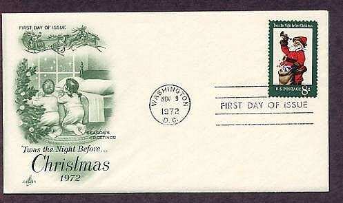 USPS Christmas Stamp 1972 Santa Claus First Issue USA