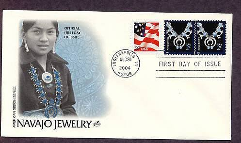 American Indian Navajo Jewelry, Silver and Turquoise Necklace, First Issue FDC USA