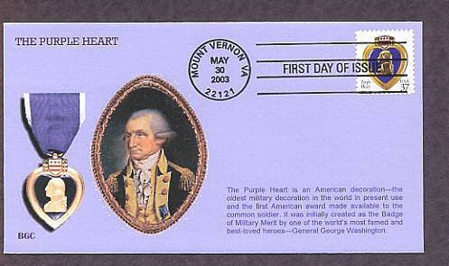 The Purple Heart Military Medal, George Washington, Mount Vernon, Virginia FDC First Issue USA