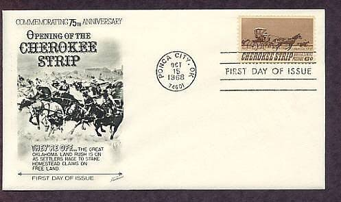 Cherokee Strip Land Rush, Oklahoma, 1968 First Issue USA