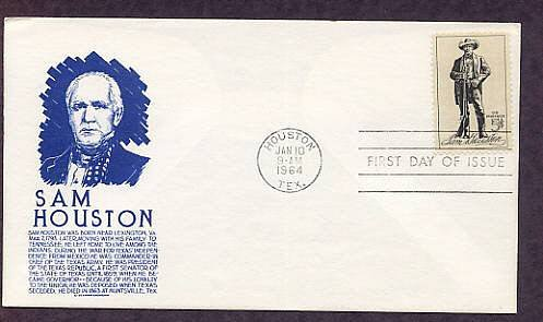 Honoring Sam Houston, Texas, Anderson FDC, First Issue USA
