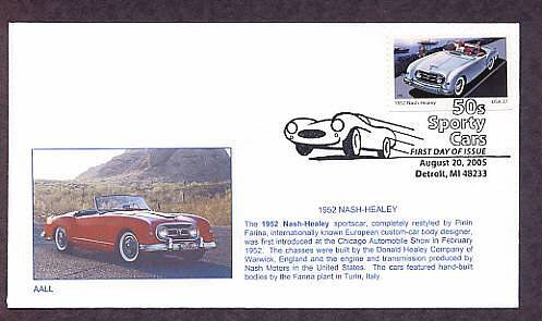 1952 Nash Healey, First Issue, Detroit, Michigan USA FDC