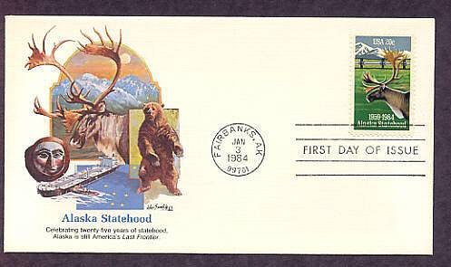 Alaska Statehood, Fairbanks, Caribou, Bear, First Issue USA