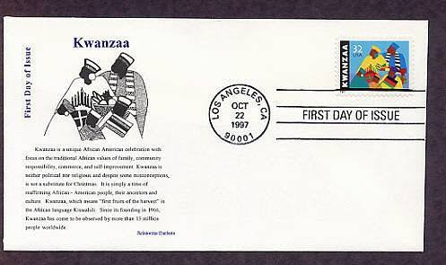 African American Seven Days of Kwanzaa Karamu, First Issue USA FDC
