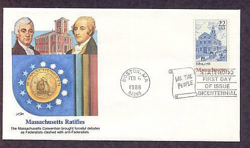 Massachusetts Statehood Bicentennial, First Issue FDC USA