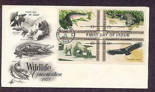 Wildlife Conservation,  Trout, Alligator, Polar Bear, California Condor First Issue USA