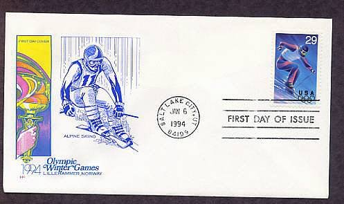 Winter Olympics 1994, Alpine Skiing, Salt Lake City, Utah First Issue USA