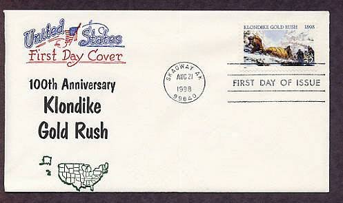 100th Anniversary Klondike Gold Rush Skagway, Alaska, First Issue USA