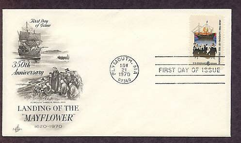 Landing of the Pilgrims, Mayflower Ship, Plymouth, Massachusetts, First Issue USA