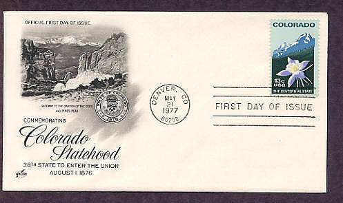 Colorado Statehood Centennial, Columbine Flower and Mountain Peak, First Issue USA