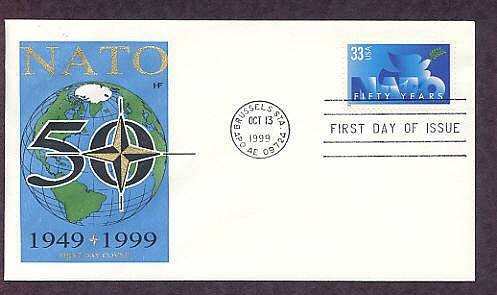 NATO, North Atlantic Treaty Organization, Brussels, Belgium, First Issue USA