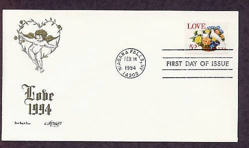 Love Postage Stamp 1994, Roses and Doves in Basket, Robert Burns Love Poem First Issue USA
