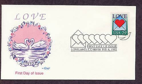 USPS Love Stamp 1992 Heart in Envelope, Swans, First Issue USA