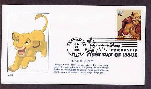 Walt Disney Art, The Lion King, Simba, First Issue FDC USA