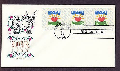 1994 Love Stamp Heart, Doves, First Issue USA