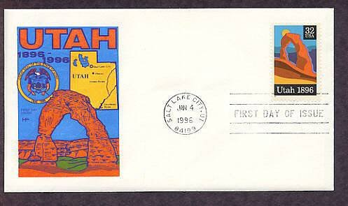 Centennial Utah Statehood, Arches National Park, Rock Formation First Issue USA