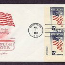 Register and Vote, Your Privilege and Responsibility, American Flag Plate Block First Issue USA
