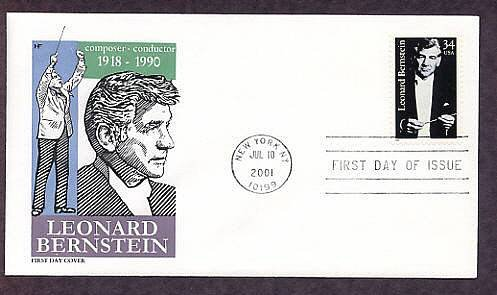 Honoring American Composer and Conductor Leonard Bernstein, First Issue USA