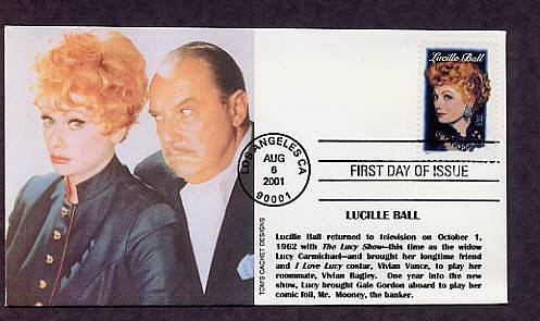 Honoring Lucille Ball, I Love Lucy, Television and Movie Star, First Issue FDC USA