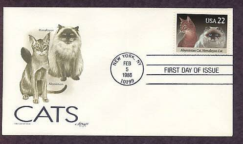 Cats Abyssinian and Himalayan Cat First Issue USA