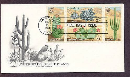 Cactus Plants of Arizona, Saguaro, Beavertail, Barrel, Agave, First Issue AM USA