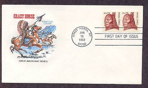 Crazy Horse Sioux Indian Chief, South Dakota, HF, First Issue FDC USA