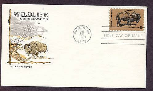 Wildlife Conservation, American Bison, Buffalo, First Issue FDC USA
