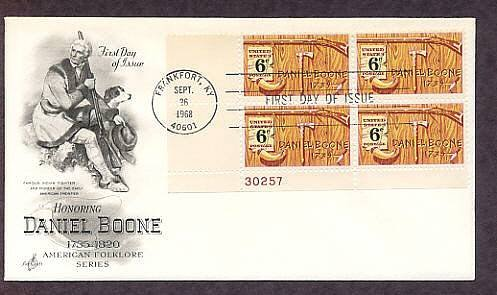 American Folklore, Honoring Daniel Boone, Plate Block First Issue FDC USA