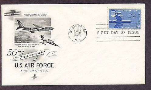 15th Anniversary of the United States Air Force, Aircraft, 1957 First Issue USA