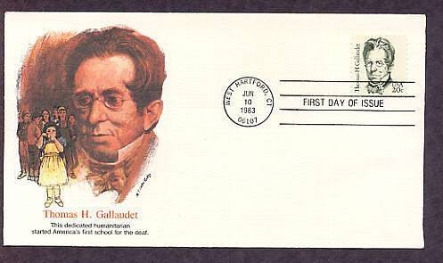 Gallaudet, Founder School for Deaf, Signing, First Issue FDC USA