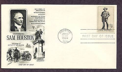 Honoring Sam Houston, Texas American Hero 1964 First Issue USA