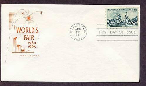 New York World's Fair Stamp, Unisphere, 1964 First Issue HF FDC USA