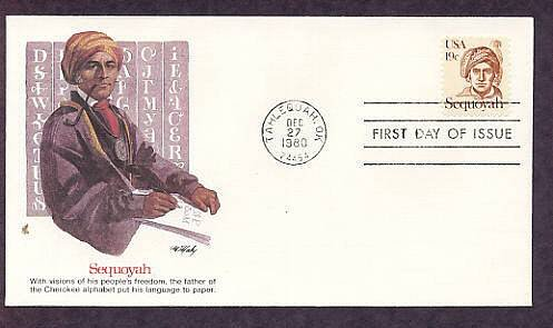 Honoring Cherokee Indian Sequoyah, Oklahoma First Issue USA