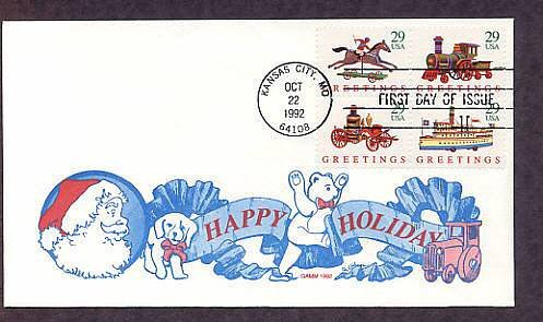 1992 Christmas Antique Toys, Horse and Rider, Train, Fire Pumper, Ship, Gamm FDC First Issue USA
