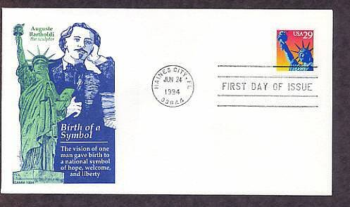 Statue of Liberty, Frederic Auguste Bartholdi, Sculptor, First Issue FDC Gamm USA