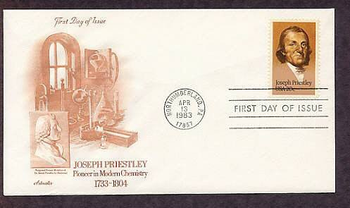 Honoring Joseph Priestley, First to Isolate Oxygen, Chemist, First Issue USA