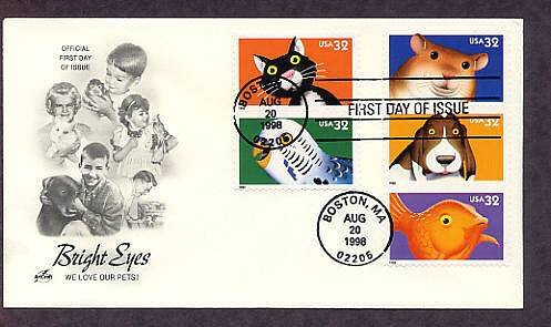 Bright Eyes, Lovable Popular Animal Pets and Companions, Dog, Cat, Budgie, Goldfish, Hamster, FDC