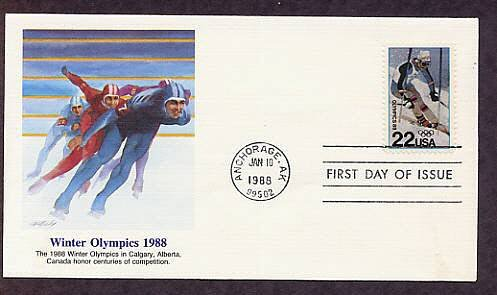 1988 Winter Olympics, Alpine Skier, First Issue USA