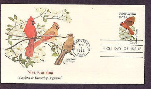 North Carolina Birds and Flowers, Cardinal, Flowering Dogwood, FW First Issue USA