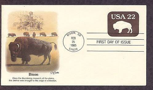 Buffalo, American Bison, South Dakota, First Issue 1985 USA