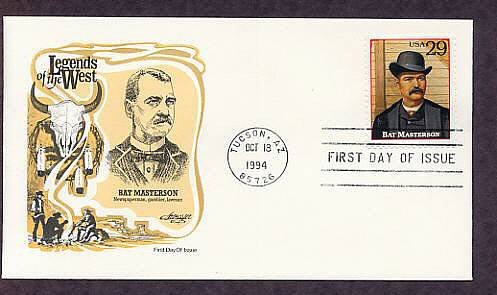 Bat Masterson, Legends of the West, Tucson, Arizona First Issue FDC USA