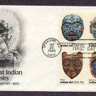 Tribal American Indian Masks, Folk Art AC First Issue USA