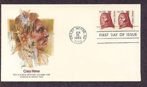 Native American Crazy Horse, Sioux Indian Chief, South Dakota Fleet. First Issue USA