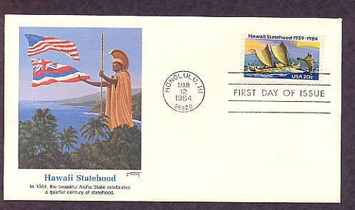 25th Anniversary, Hawaii Statehood, Eastern Polynesian Canoe, First Issue USA