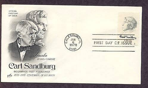 Honoring Carl Sandburg, American Poet, AC First Issue USA