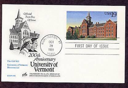 200th Anniversary University of Vermont, The Old Mill, First Issue Postal Card