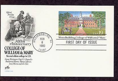 300th Anniversary College of William & Mary, Wren Building, Postal Card First Issue